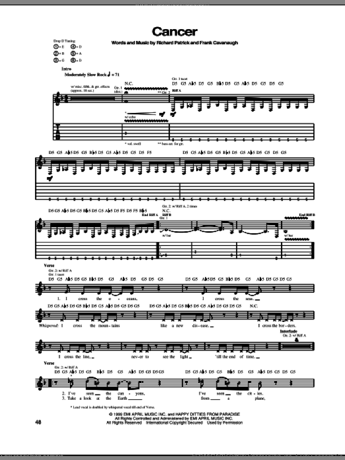 Cancer sheet music for guitar (tablature) by Filter, Frank Cavanaugh and Richard Patrick, intermediate skill level