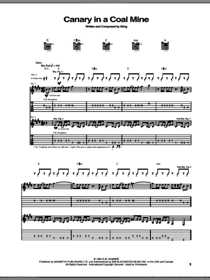 Canary In A Coalmine sheet music for guitar (tablature) by The Police and Sting. Score Image Preview.