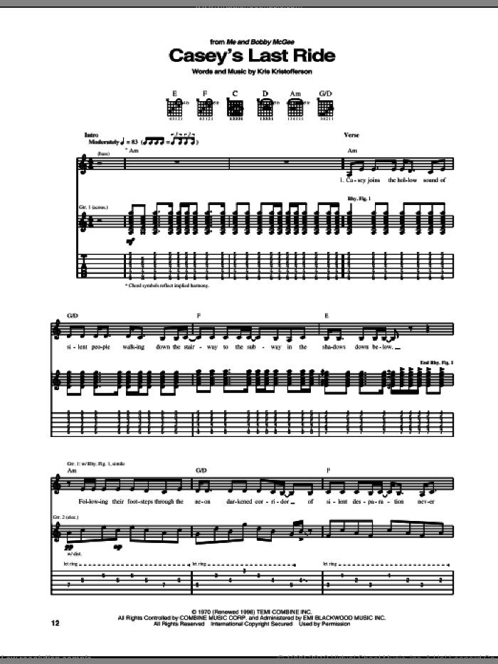 Casey's Last Ride sheet music for guitar (tablature) by Kris Kristofferson