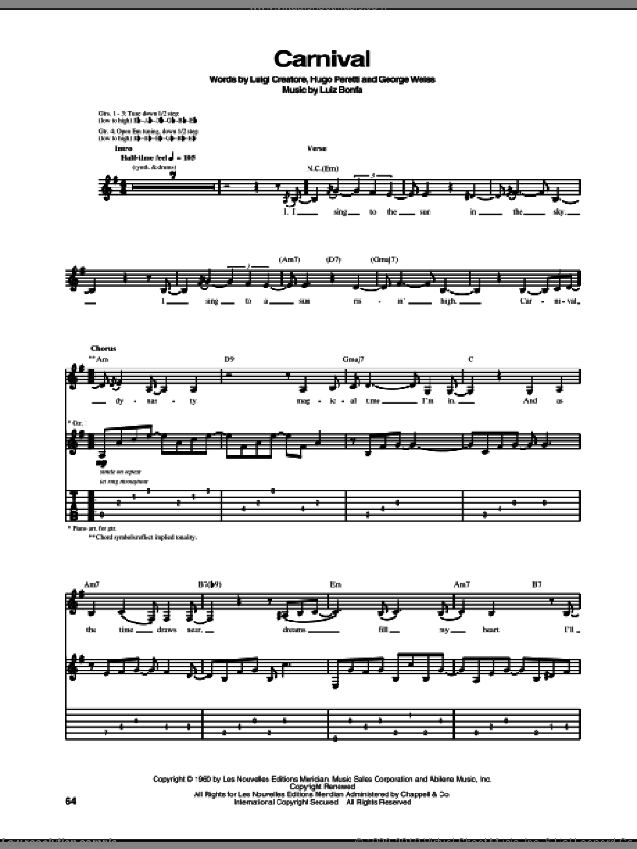 Carnival sheet music for guitar (tablature) by Tori Amos, George David Weiss, Hugo Peretti and Luiz Bonfa. Score Image Preview.