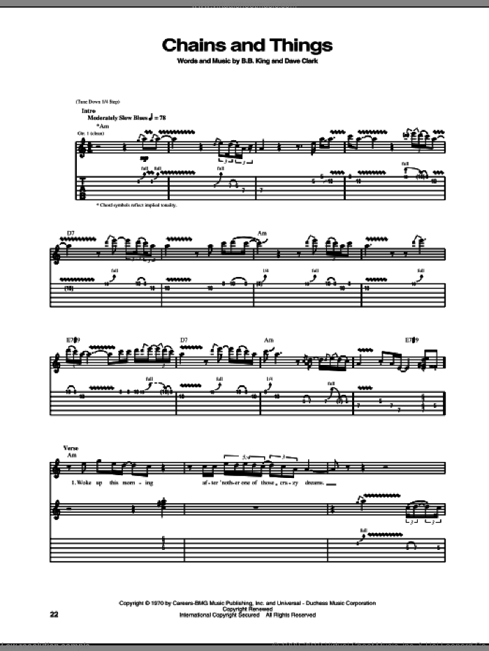 Chains And Things sheet music for guitar (tablature) by B.B. King, intermediate guitar (tablature). Score Image Preview.