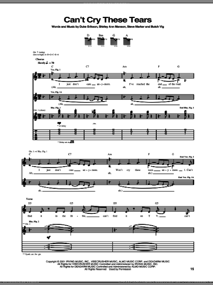 Can't Cry These Tears sheet music for guitar (tablature) by Garbage, intermediate. Score Image Preview.
