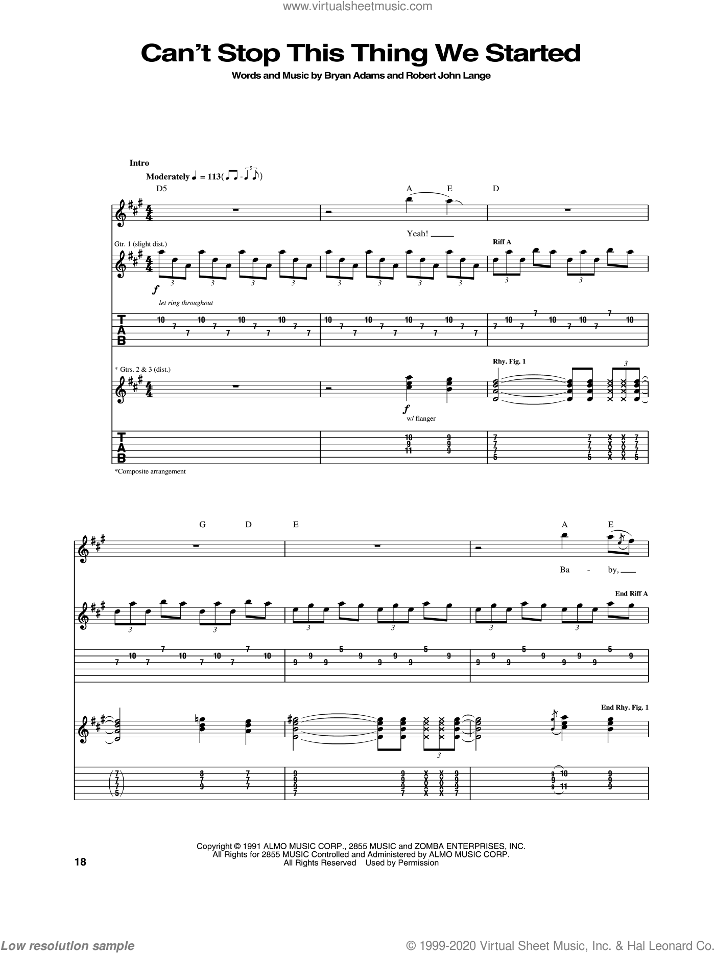 Can't Stop This Thing We Started sheet music for guitar (tablature) by Bryan Adams and Robert John Lange, intermediate skill level