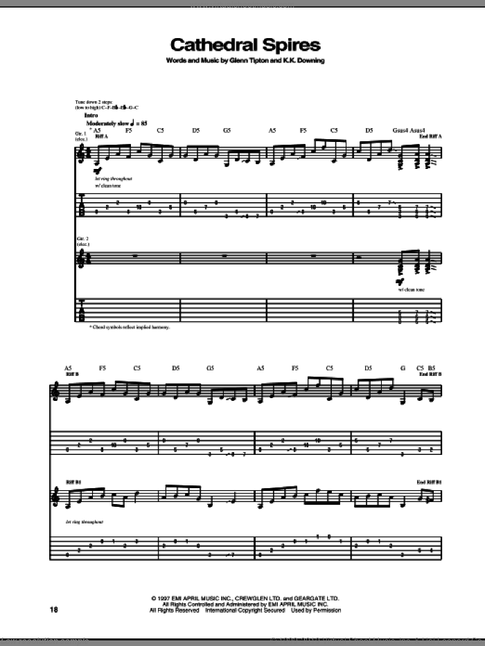 Cathedral Spires sheet music for guitar (tablature) by Judas Priest, intermediate. Score Image Preview.