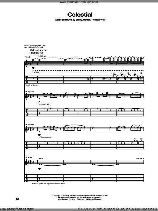 Celestial sheet music for guitar (tablature) by Wuv and Traa. Score Image Preview.