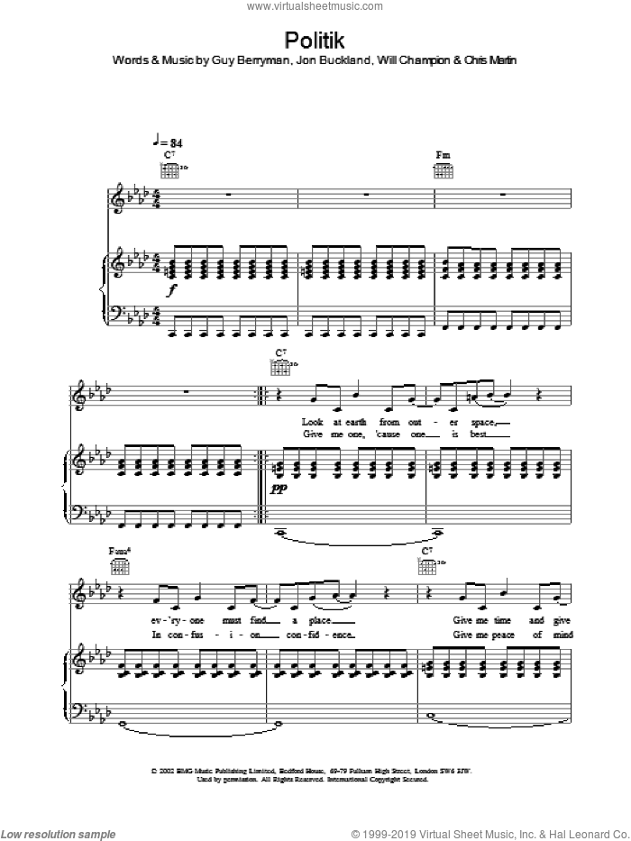 Politik sheet music for voice, piano or guitar by Coldplay, intermediate skill level