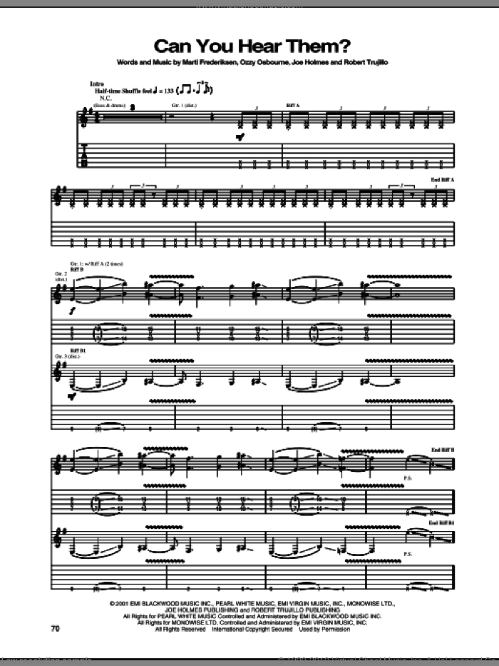 Can You Hear Them? sheet music for guitar (tablature) by Robert Trujillo, Marti Frederiksen and Ozzy Osbourne. Score Image Preview.