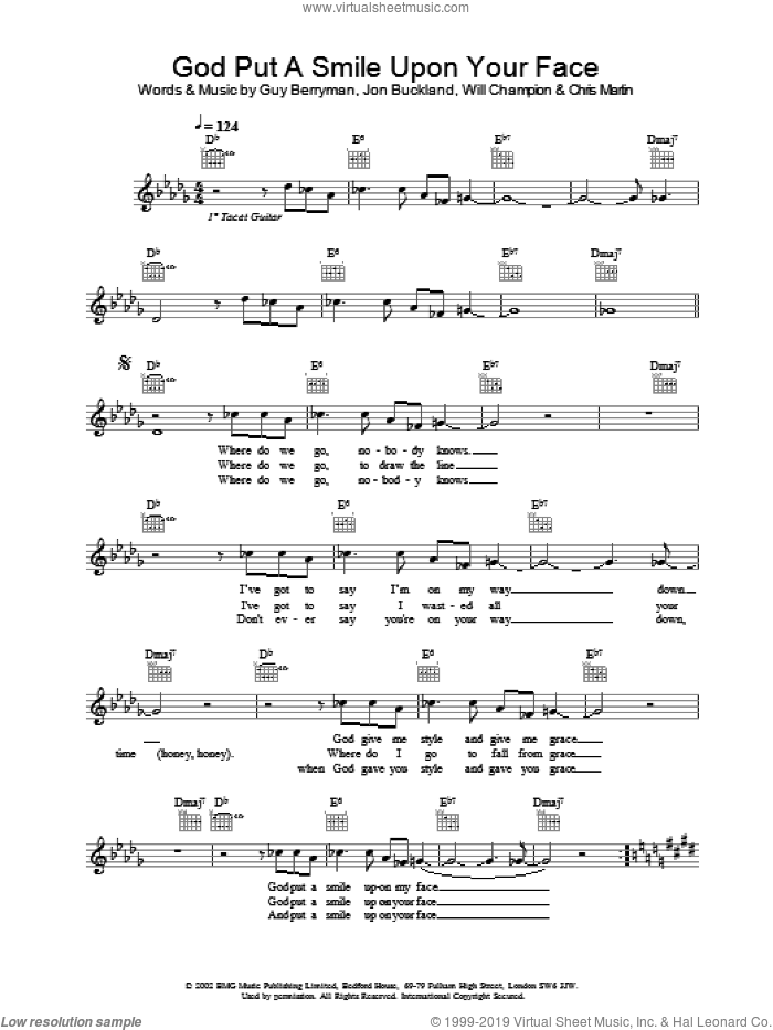 God Put A Smile Upon Your Face sheet music for voice and other instruments (fake book) by Coldplay. Score Image Preview.