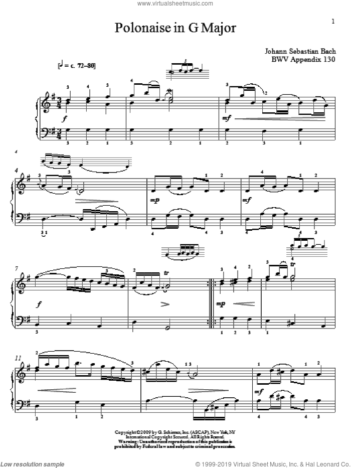 Polonaise In G Major, BWV App. 130 sheet music for piano solo by Johann Sebastian Bach and Christos Tsitsaros, classical score, intermediate skill level