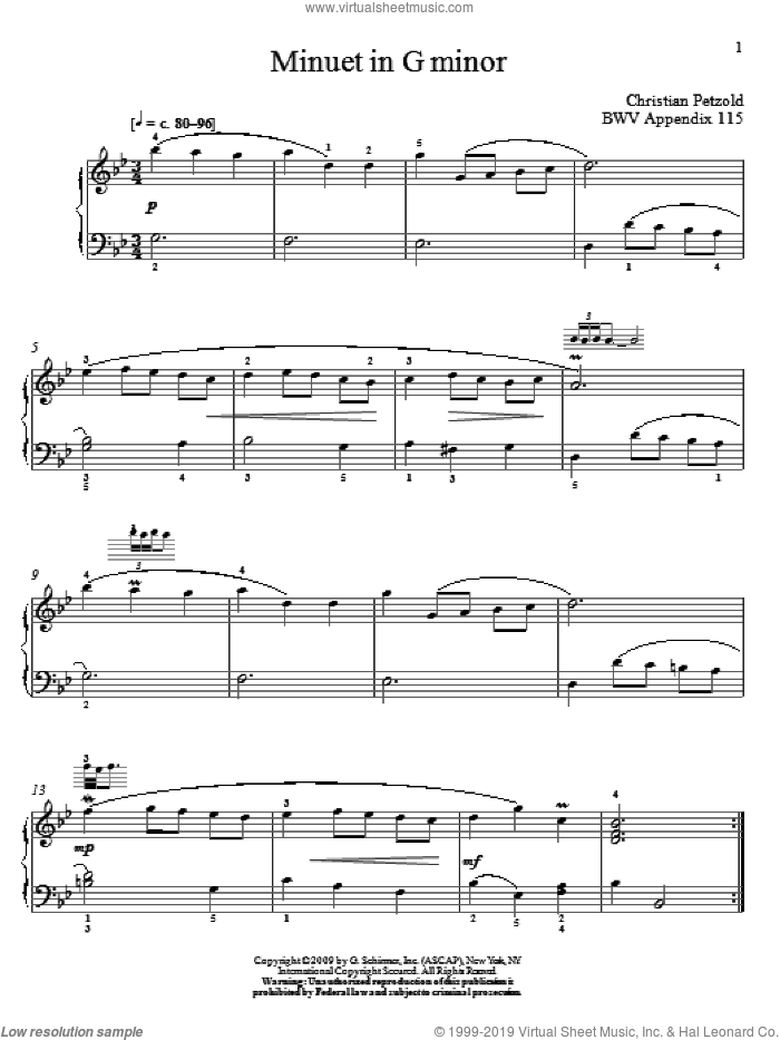 Menuet In G Minor, BWV App. 115 sheet music for piano solo by Johann Sebastian Bach and Christos Tsitsaros, classical score, intermediate. Score Image Preview.