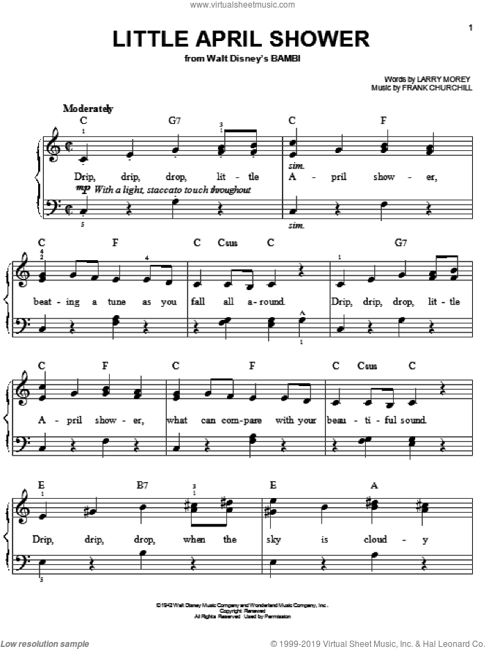 Little April Shower sheet music for piano solo by Larry Morey and Frank Churchill. Score Image Preview.
