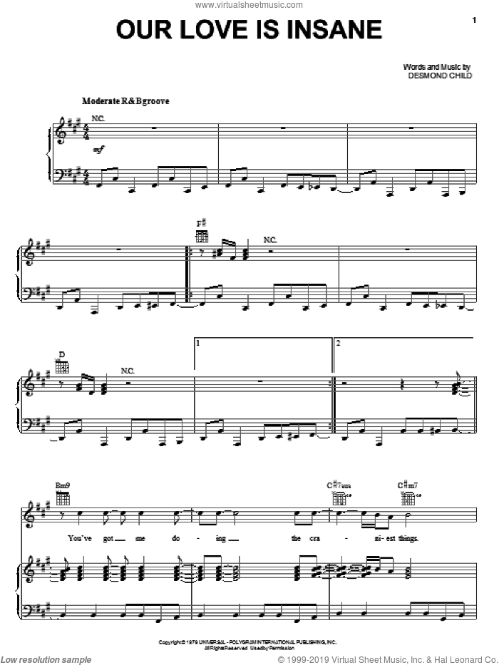 Our Love Is Insane sheet music for voice, piano or guitar by Desmond Child & Rouge and Desmond Child, intermediate skill level