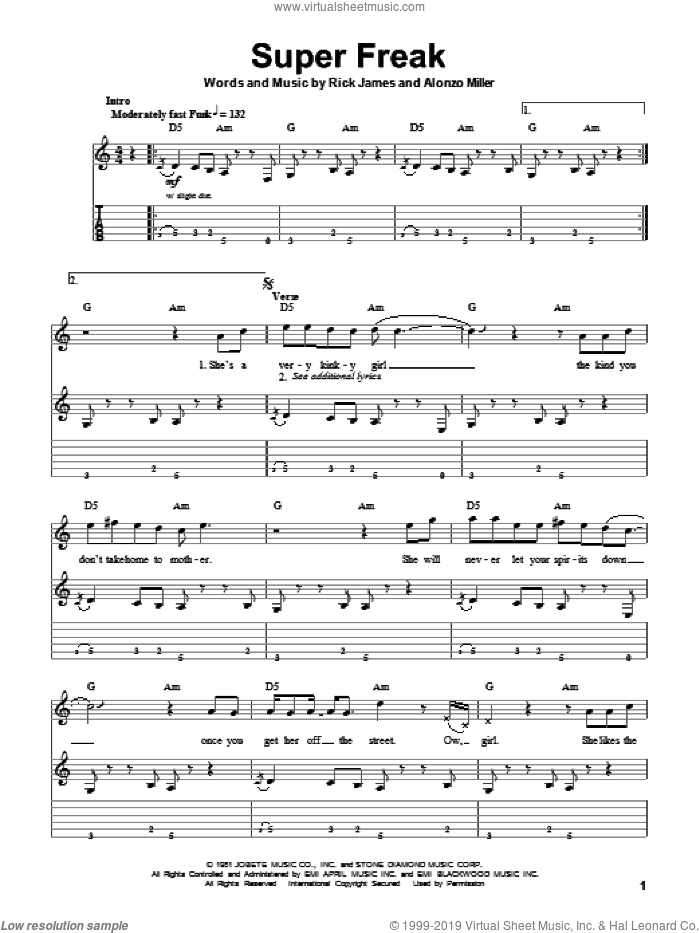 Super Freak sheet music for guitar (tablature, play-along) by Rick James. Score Image Preview.