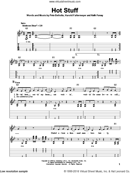 Hot Stuff sheet music for guitar (tablature, play-along) by Pete Bellotte, Donna Summer, Harold Faltermeyer and Keith Forsey. Score Image Preview.