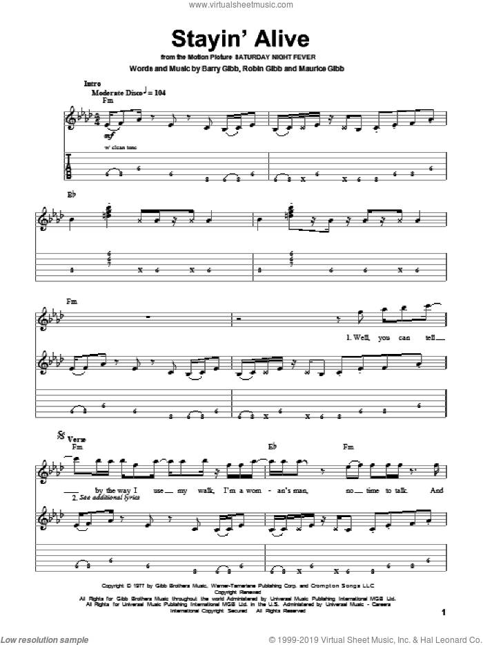 Stayin' Alive sheet music for guitar (tablature, play-along) by Bee Gees, Barry Gibb, Maurice Gibb and Robin Gibb, intermediate guitar (tablature, play-along). Score Image Preview.