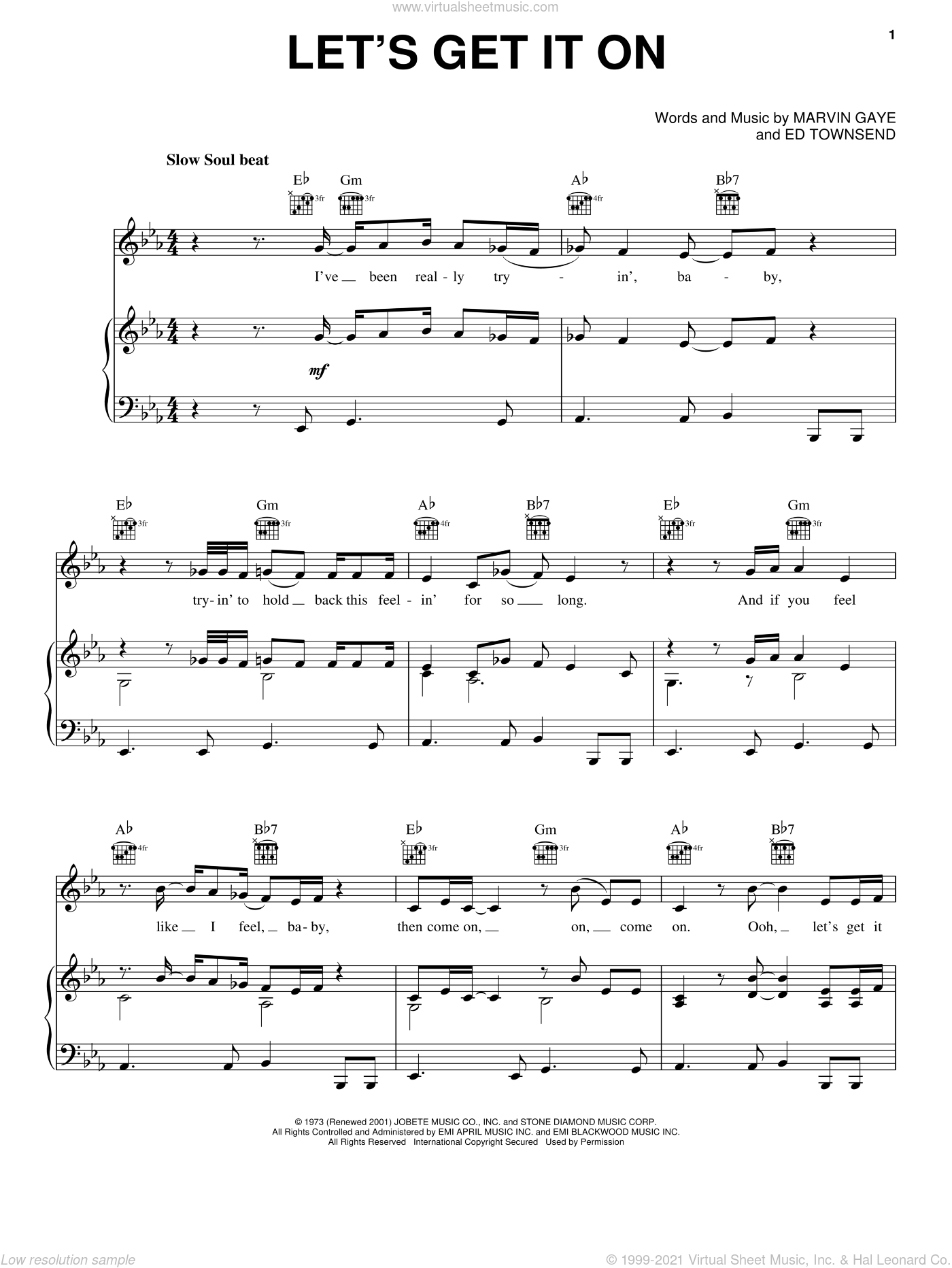 Let's Get It On sheet music for voice, piano or guitar by Marvin Gaye and Ed Townsend, intermediate skill level