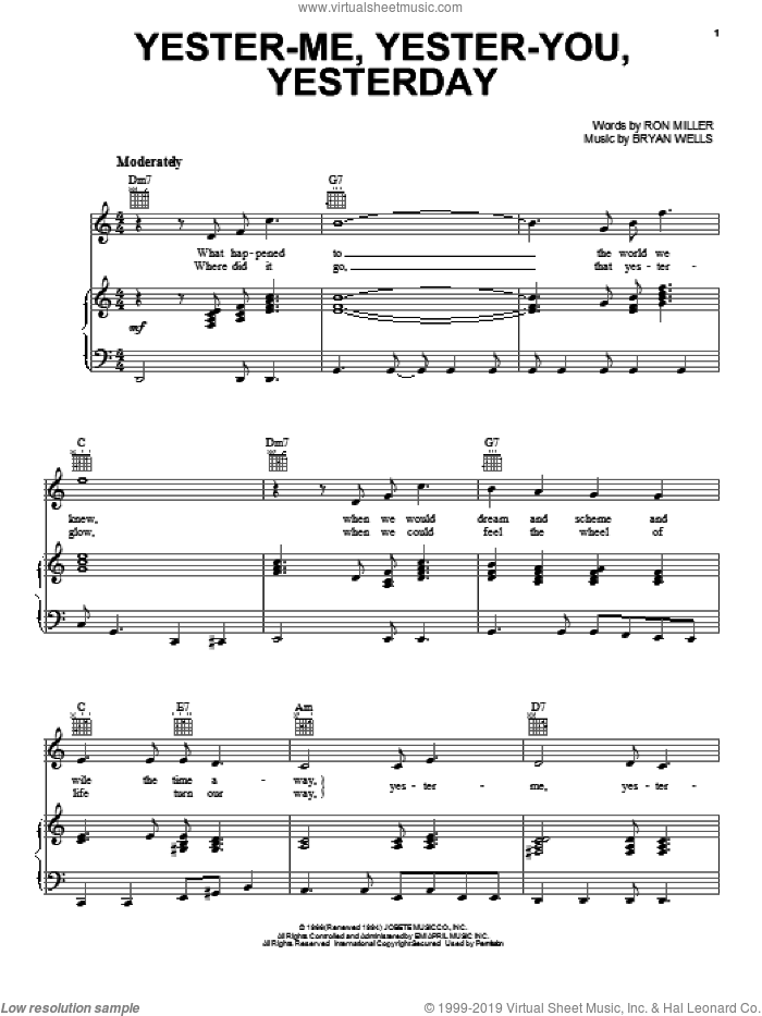 Yester-Me, Yester-You, Yesterday sheet music for voice, piano or guitar by Stevie Wonder, Bryan Wells and Ron Miller, intermediate skill level