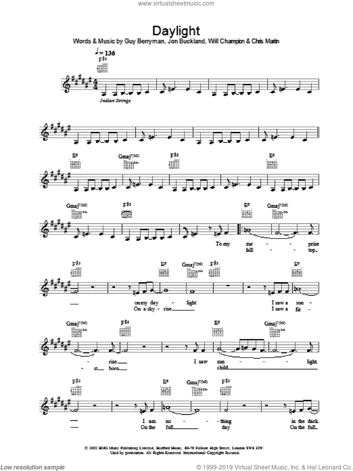 Daylight sheet music for voice and other instruments (fake book) by Coldplay, intermediate skill level