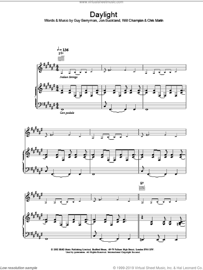 Daylight sheet music for voice, piano or guitar by Coldplay, intermediate. Score Image Preview.