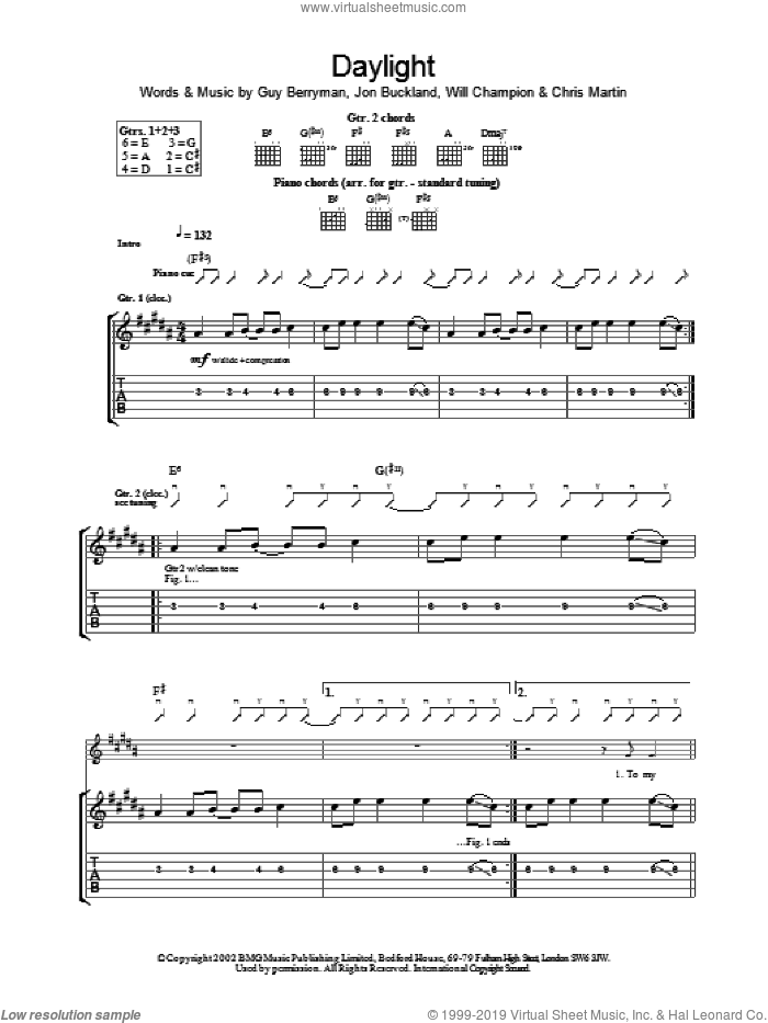 Daylight sheet music for guitar (tablature) by Coldplay, intermediate skill level