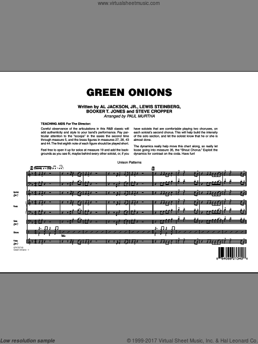 Green Onions (COMPLETE) sheet music for jazz band by Paul Murtha