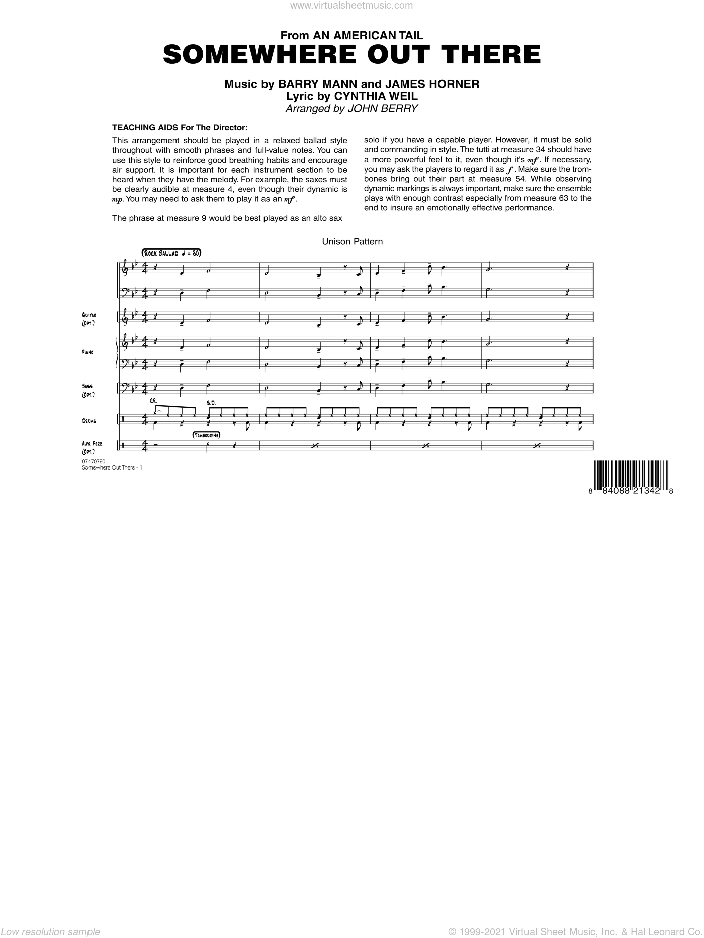 Somewhere Out There sheet music for jazz band (full score) by Barry Mann