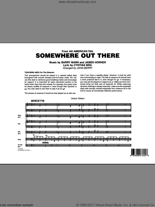 Somewhere Out There (COMPLETE) sheet music for jazz band by Barry Mann