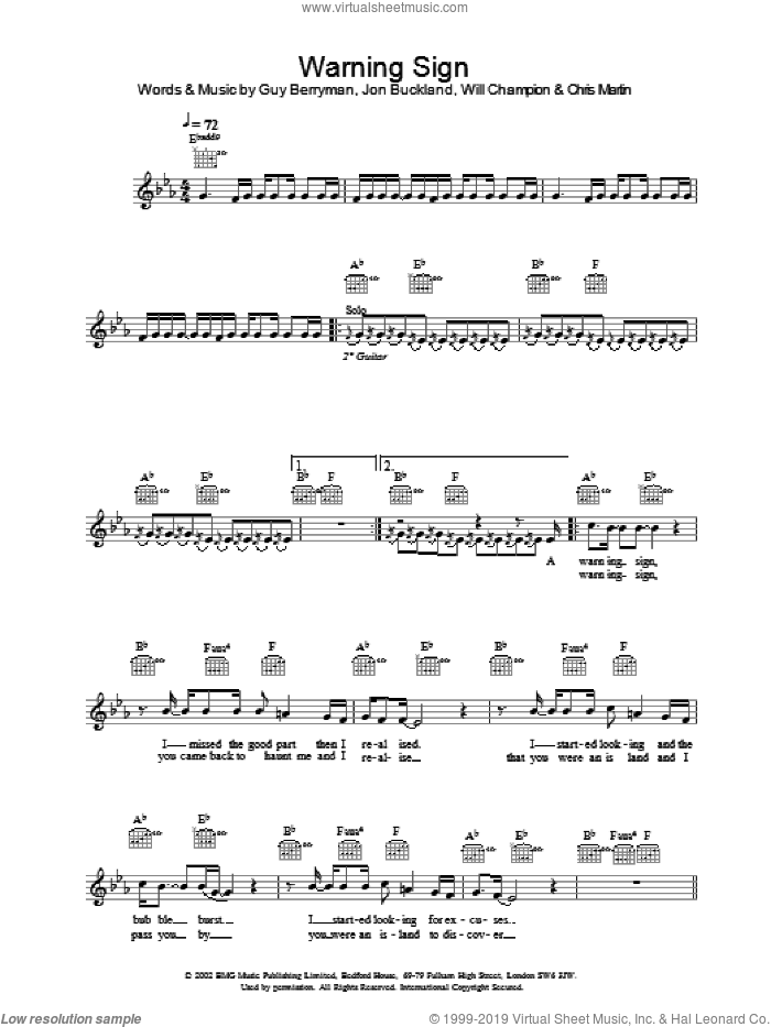 Warning Sign sheet music for voice and other instruments (fake book) by Coldplay, intermediate skill level