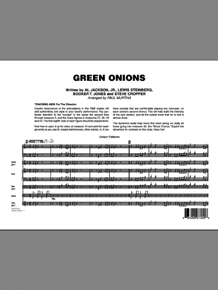 Green Onions (COMPLETE) sheet music for jazz band by Paul Murtha, intermediate skill level