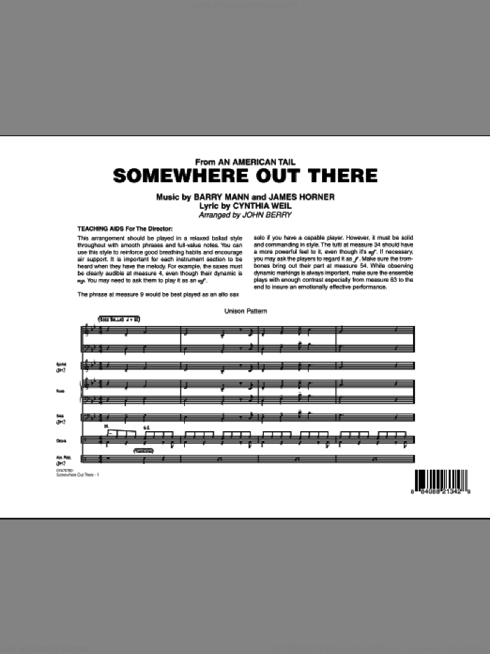 Somewhere Out There (COMPLETE) sheet music for jazz band by James Horner, Barry Mann, Cynthia Weil and John Berry, intermediate. Score Image Preview.