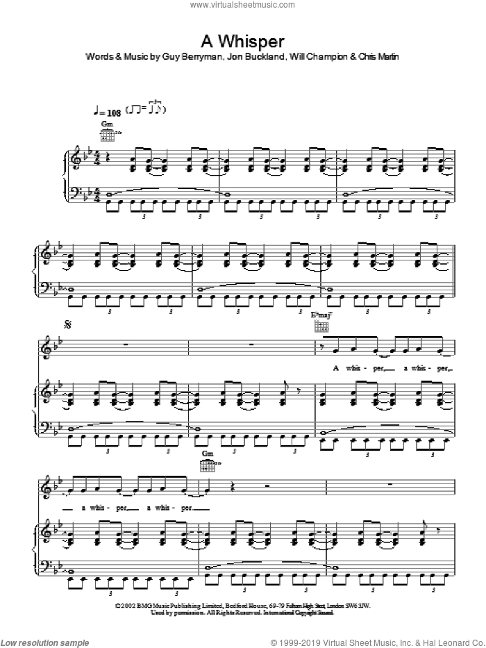 A Whisper sheet music for voice, piano or guitar by Coldplay. Score Image Preview.