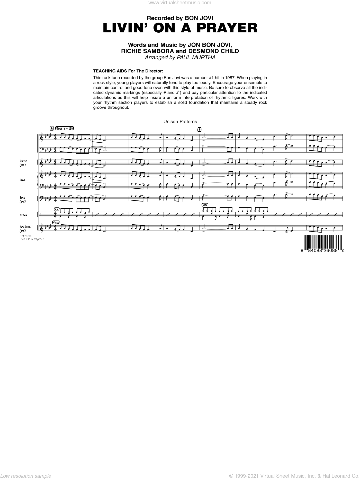 Livin' On A Prayer sheet music for jazz band (full score) by Desmond Child