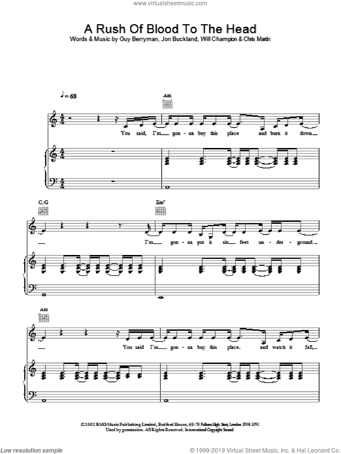 A Rush Of Blood To The Head sheet music for voice, piano or guitar by Coldplay. Score Image Preview.