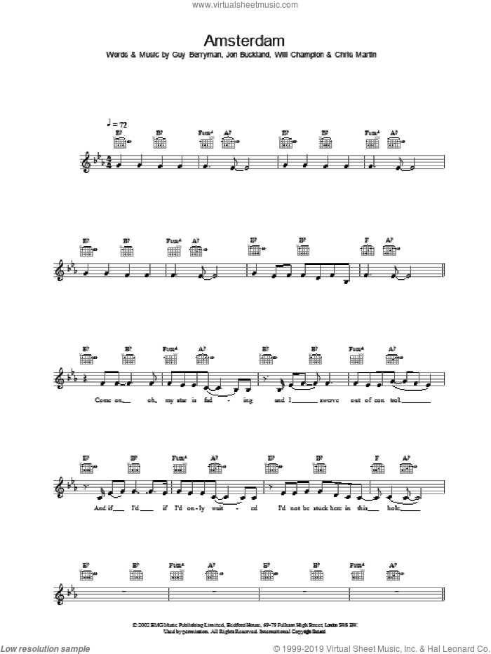 Amsterdam sheet music for voice and other instruments (fake book) by Coldplay. Score Image Preview.