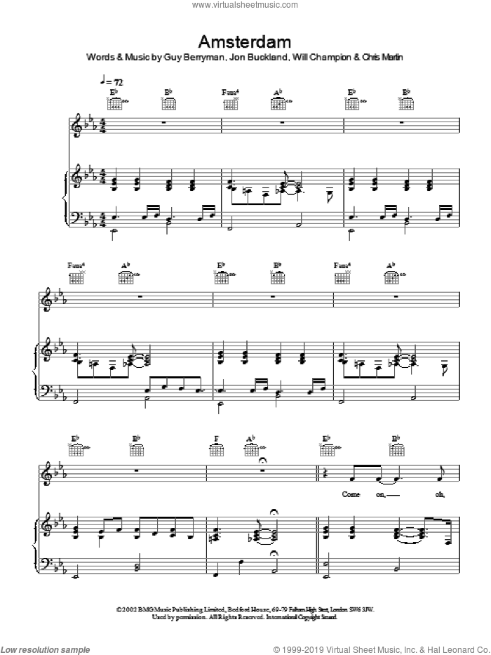Amsterdam sheet music for voice, piano or guitar by Coldplay, intermediate