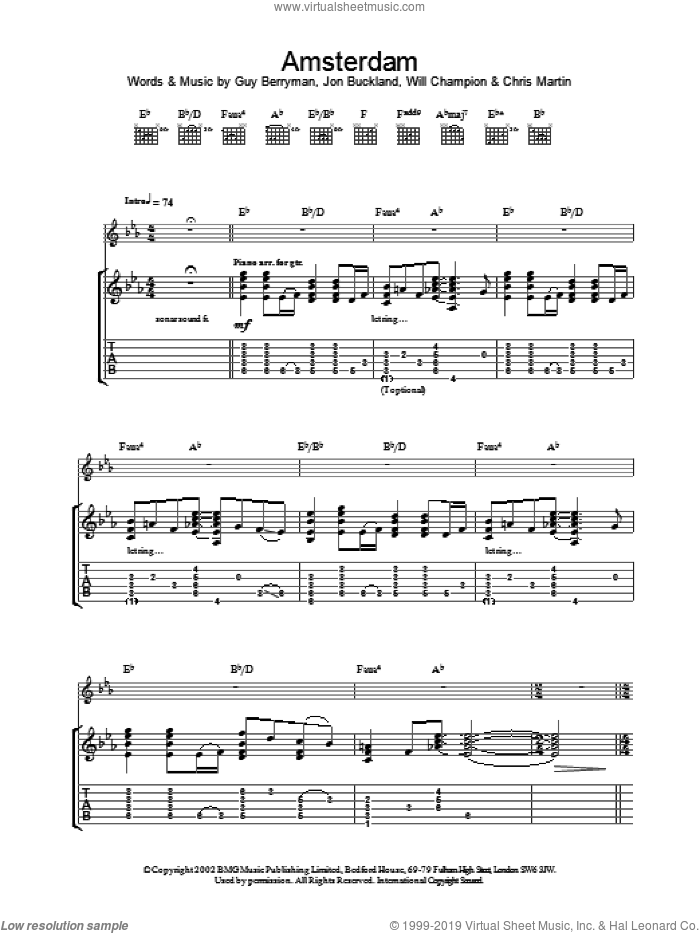 Amsterdam sheet music for guitar (tablature) by Coldplay, intermediate skill level
