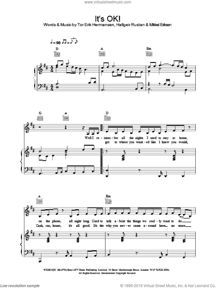 It's OK! sheet music for voice, piano or guitar by Atomic Kitten. Score Image Preview.