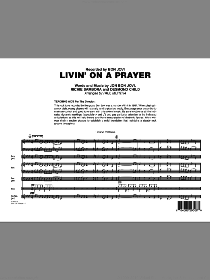 Livin' On A Prayer (COMPLETE) sheet music for jazz band by Bon Jovi, Desmond Child, Richie Sambora and Paul Murtha, intermediate skill level