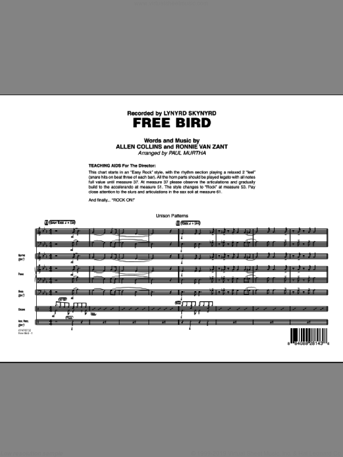 Free Bird (COMPLETE) sheet music for jazz band by Paul Murtha, Lynyrd Skynyrd and Ronnie Van Zant, intermediate. Score Image Preview.