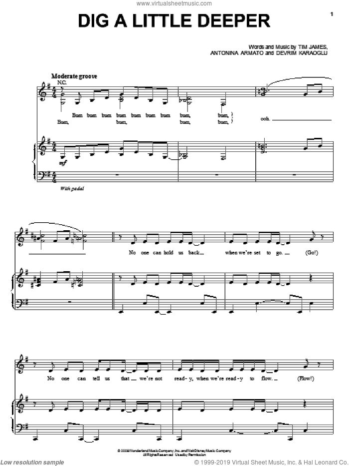Dig A Little Deeper sheet music for voice, piano or guitar by The Cheetah Girls, Antonina Armato and Tim James, intermediate voice, piano or guitar. Score Image Preview.