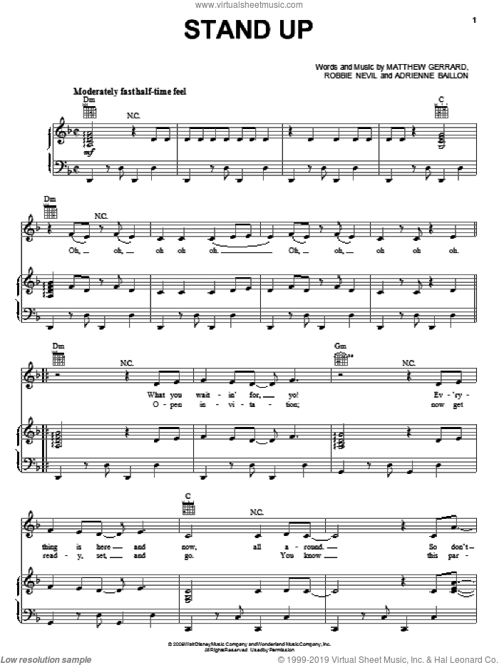 Stand Up sheet music for voice, piano or guitar by The Cheetah Girls, Adrienne Baillon, Matthew Gerrard and Robbie Nevil, intermediate skill level