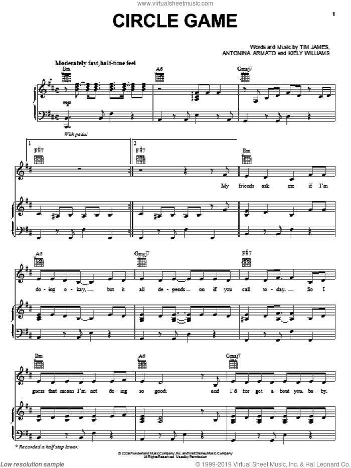 Circle Game sheet music for voice, piano or guitar by The Cheetah Girls, Antonina Armato, Kiely Williams and Tim James, intermediate skill level