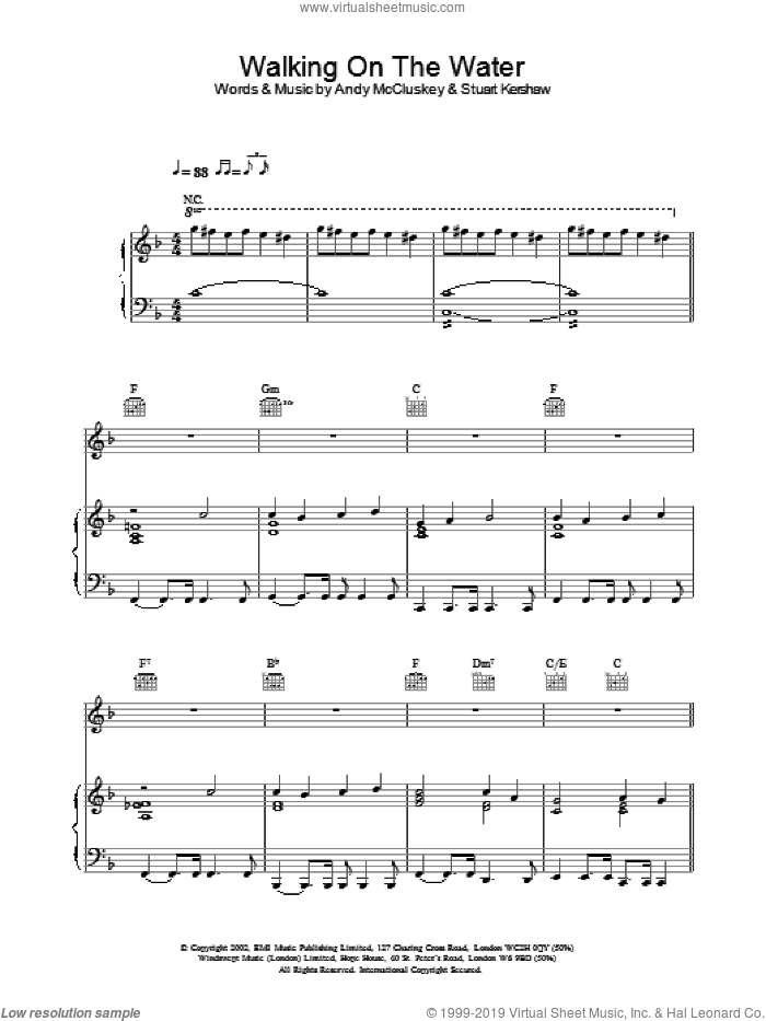 Walking On The Water sheet music for voice, piano or guitar by Atomic Kitten, intermediate