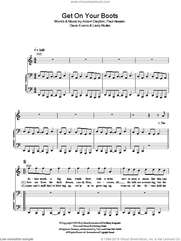 Get On Your Boots sheet music for voice, piano or guitar by U2 and Adam Clayton. Score Image Preview.