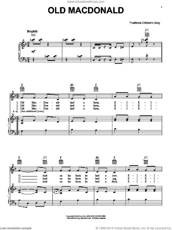 Old MacDonald sheet music for voice, piano or guitar, intermediate skill level
