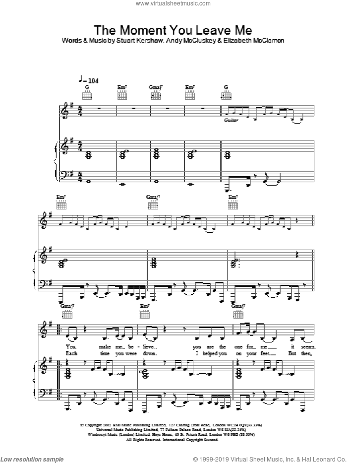 The Moment You Leave Me sheet music for voice, piano or guitar by Atomic Kitten, intermediate