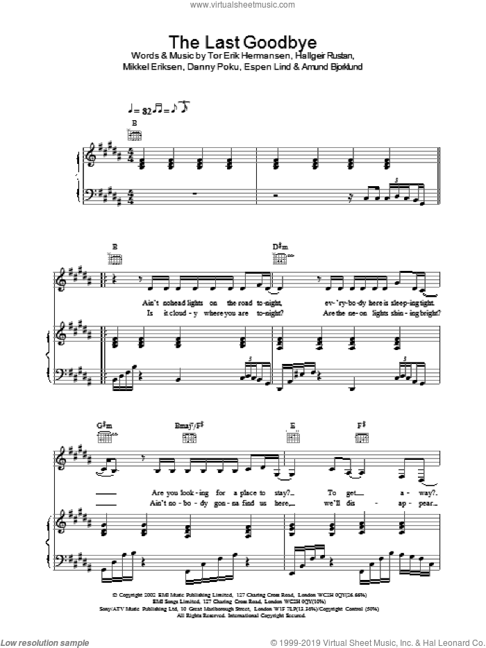 The Last Goodbye sheet music for voice, piano or guitar by Atomic Kitten. Score Image Preview.