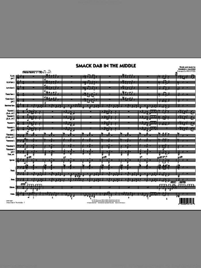 Smack Dab In The Middle (COMPLETE) sheet music for jazz band by Charles Calhoun and Rick Stitzel, intermediate jazz band. Score Image Preview.