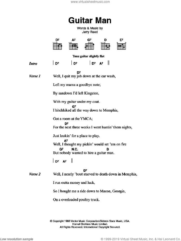 Guitar Man sheet music for guitar (chords) by Jerry Reed and Elvis Presley
