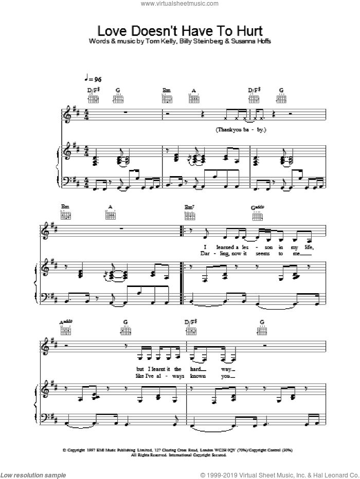 Love Doesn't Have To Hurt sheet music for voice, piano or guitar by Atomic Kitten, intermediate. Score Image Preview.